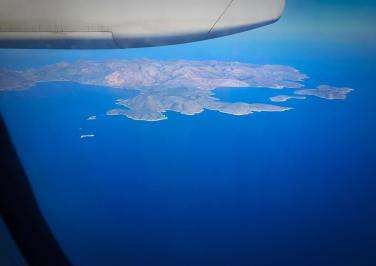 Flying into the Island